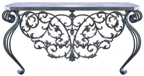 Casa Padrino Luxus Jugendstil Konsole Grau 150 x 45 x H. 90 cm - Handgefertigter Schmiedeeisen Konsolentisch mit Metall Tischplatte - Wohnzimmer Garten Terrassen Möbel