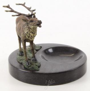 Casa Padrino Aschenbecher mit Bronzefigur Hirsch auf Marmorsockel Mehrfarbig / Schwarz 13, 6 x 12, 8 x H. 13, 1 cm - Luxus Deko - Vorschau 2