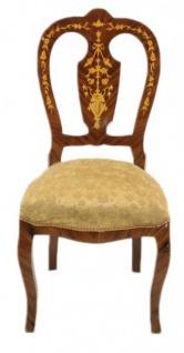 Casa Padrino Barock Luxus Esszimmer Stuhl Gold Muster / Mahagoni Intarsien - Antik Stil - Möbel