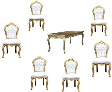 Casa Padrino Barock Esszimmer Set Gold/Weiss - Esstisch + 6 Stühle ohne Armlehnen
