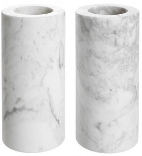 Casa Padrino Luxus Marmor Teelichthalter Set Weiß Ø 10 x H. 21 cm - Luxus Qualität - Vorschau 2