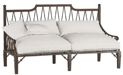 Casa Padrino Luxus Jugendstil Sofa Braun / Cremefarben 190 x 90 x H. 115 cm - Handgeschmiedetes Schmiedeeisen Sofa mit Kissen - Wohnzimmer Sofa - Garten Sofa - Terrassen Sofa - Luxus Qualität