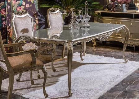 Casa Padrino Luxus Barock Esstisch Silber - Prunkvoller Massivholz Esszimmertisch - Barock Esszimmer Möbel - Edel & Prunkvoll