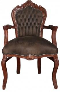 Casa Padrino Barock Esszimmer Stuhl mit Armlehnen Braun / Braun Lederoptik - Möbel