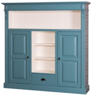 Casa Padrino Landhausstil Bücherschrank Blaugrün / Weiß 60 x 36 x H. 100 cm - Massivholz Schrank mit 2 Türen und Schublade - Wohnzimmerschrank - Landhausstil Möbel