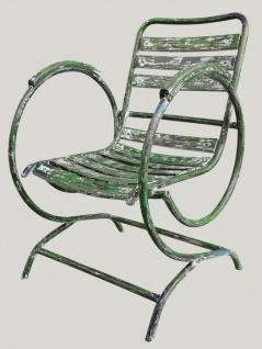Casa Padrino Jugendstil Gartenstuhl mit Armlehnen Antik Grün 60 x 45 x H. 85 cm - Handgefertigte Gartenmöbel