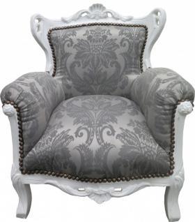Casa Padrino Barock Kinder Sessel Grau Barock Muster / Weiss - Barock Möbel - Limited Edition