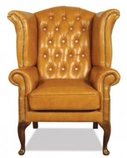 Casa Padrino Echtleder Sessel mit Glitzersteinen 95 x 95 x H. 110 cm - Luxus Wohnzimmer Ohrensessel