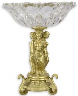 Casa Padrino Barock Glasschale mit Bronze Ständer Gold Ø 35 x H. 43, 6 cm - Prunkvolle Obstschale - Barock Deko Accessoires