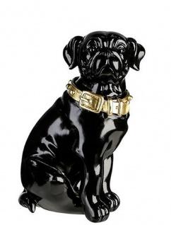 Casa Padrino Dekofigur Hund mit Halsband Schwarz glänzend / Gold 11 x 10 x H. 16 cm - Deko Accessoires