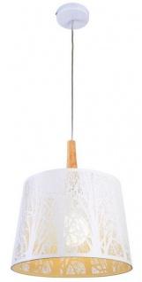 Casa Padrino Hängeleuchte Weiß / Naturfarben Ø 35 x H. 40 cm - Hängelampe mit schablonengestanzte Baumsilhouetten