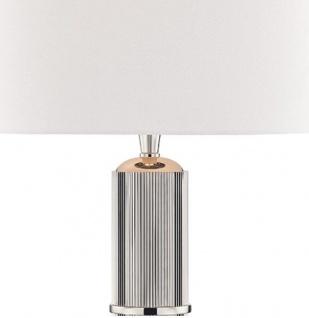 Casa Padrino Luxus Tischleuchte Silber / Weiß Ø 38 x H. 71 cm - Tischlampe mit rundem Leinen Lampenschirm - Vorschau 2