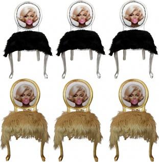 Casa Padrino Luxus Barock Esszimmer Set Marilyn Monroe Bubble Gum Crazy 50 x 60 x H. 104 cm - 6 handgefertigte Esszimmerstühle mit Kunstfell und Bling Bling Glitzersteinen - Vorschau 1