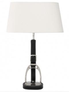 Casa Padrino Luxus Tischleuchte Horsebit Belt White / Black vernickelt mit Echtleder Gürtel - Leuchte Lampe - Tischleuchte Tischlampe Hockerleuchte