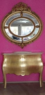 Casa Padrino Luxus Barock Waschtisch mit cremfarbiger Marmorplatte inkl. Spiegel Rund Gold - Luxus Barock Badezimmermöbel