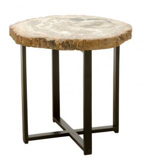 Casa Padrino Luxus Couchtisch mit einer versteinerten Holz Tischplatte in naturfarben / schwarz - Wohnzimmertisch
