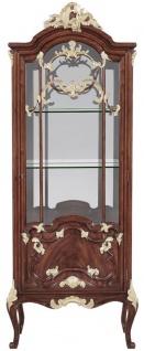 Casa Padrino Luxus Barock Vitrine Braun / Gold 79 x 42 x H. 207 cm - Prunkvoller Massivholz Vitrinenschrank mit LED Beleuchtung - Barock Möbel