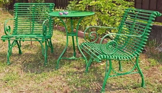 Casa Padrino Jugendstil Gartentisch & Gartenstühle - verschiedene Farben - 3 Teiliges Gartenmöbel Set
