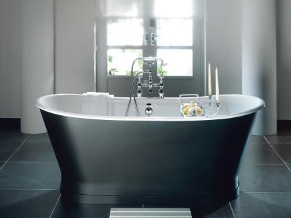 Casa Padrino Luxus Jugendstil Badewanne Grau / Weiß 170 x 68 x H. 72, 5 cm - Freistehende Badewanne - Badezimmermöbel