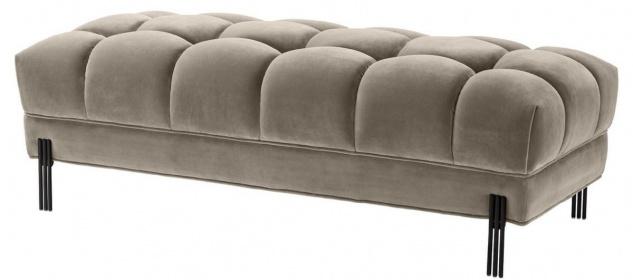 Casa Padrino Luxus Sitzbank Greige / Schwarz 133 x 59 x H. 42 cm - Gepolsterte Samt Bank mit Edelstahl Beinen - Luxus Kollektion