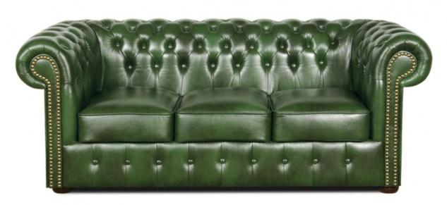 Casa Padrino Chesterfield Echtleder 3er Sofa Grün 200 x 90 x H. 78 cm - Luxus Kollektion