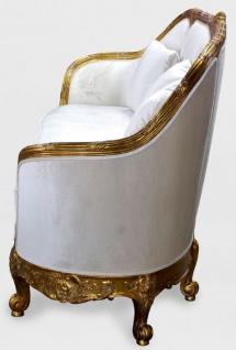 Casa Padrino Luxus Barock Wohnzimmer Sofa Weiß / Gold - Edles Handgefertigtes Antik Stil Sofa - Barock Wohnzimmer Möbel - Vorschau 3