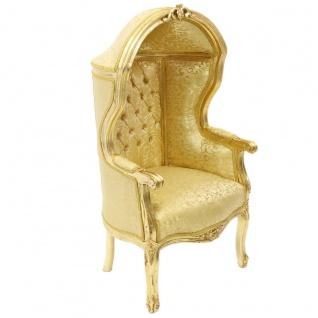 Casa Padrino Barock Kinder Thron Sessel Gold Muster /Gold - Ballon Sessel Barock Möbel - Vorschau 2