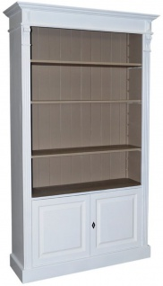 Casa Padrino Landhausstil Bücherschrank Weiß / Grau 119 x 39 x H. 197 cm - Wohnzimmerschrank im Landhausstil - Vorschau