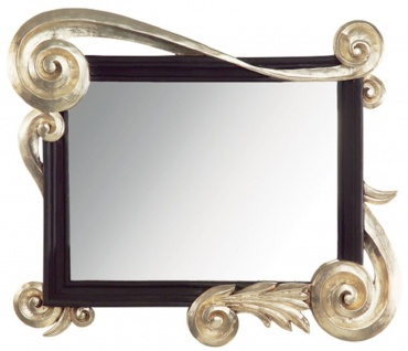 Casa Padrino Luxus Barock Spiegel Silber / Schwarz - Handgefertigter Massivholz Wandspiegel im Barockstil - Barock Möbel - Luxus Qualität - Made in Italy