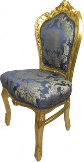 Casa Padrino Barock Esszimmerstuhl Blau Muster / Gold 53 x 57 x H. 108 cm - Limited Edition
