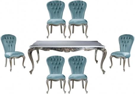 Casa Padrino Luxus Barock Esszimmer Set Hellblau / Silber - 1 Esstisch & 6 Esszimmerstühle - Barock Esszimmer Möbel - Edel & Prunkvoll