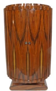 Casa Padrino Art Deco Schrank Braun 100 x 45 x H. 165 cm - Halbrunder Mahagoni Wohnzimmerschrank mit 2 Türen - Art Deco Wohnzimmer Möbel