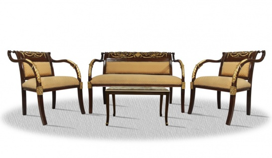 Casa Padrino Barock Salon Set Braun / Gold - Hotel Restaurant Möbel im Antik Stil