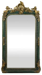Casa Padrino Barock Wandspiegel Grün / Antik Gold 85 x H. 160 cm - Prunkvoller Barock Spiegel mit wunderschönen Verzierungen und dekorativen Engelsfiguren