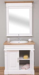 Casa Padrino Landhausstil Badezimmer Set Weiß / Naturfarben - 1 Waschtisch & 1 Wandspiegel - Massivholz Badezimmer Möbel im Landhausstil - Vorschau 3
