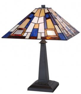 Casa Padrino Tiffany Tischleuchte Schwarz / Mehrfarbig 44 x 44 x H. 60 cm - Handgefertigte Luxus Tischlampe aus zahlreichen Glas Mosaik Stücken