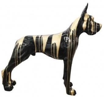 Casa Padrino Designer Dekofigur Hund Deutsche Dogge Schwarz / Gold 125 x H. 110 cm - Lebensgroße Deko Skulptur - Wetterbeständige Tierfigur