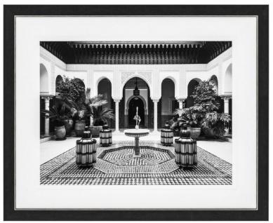 Casa Padrino Luxus Wandbild Wohnen in Marokko Schwarz / Weiß / Gold 109 x H. 89 cm - Kunstdruck - Wanddeko - Deko Accessoires