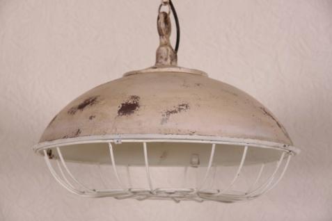 Casa Padrino Hängeleuchte Deckenleuchte Antik Stil Weiss Industrial Vintage Design 45cm Durchmesser - Industrie Lampe Hänge Leuchte