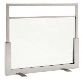 Casa Padrino Luxus Kamin Feuerschutz Wand Ständer - Glas / Edelstahl vernickelt - Luxus Pur!