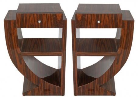 Casa Padrino Art Deco Beistelltisch Set Braun 50 x 40 x H. 75 cm - Mahagoni Beistelltische mit Schublade - Nachttische - Luxus Qualität