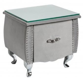 Casa Padrino Art Deco Nachttisch mit Schublade und Glasplatte Silbergrau / Silber 47 x 41 x H. 45 cm - Schlafzimmermöbel