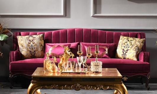 Casa Padrino Luxus Barock Sofa Lila / Schwarz / Gold 242 x 103 x H. 90 cm - Prunkvolles Wohnzimmer Sofa - Barockmöbel