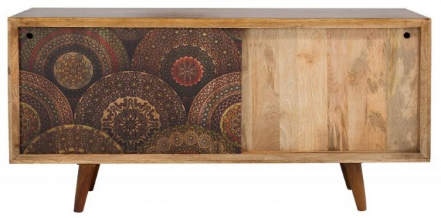 Casa Padrino Designer Kommode Sideboard 160 x 45 x H.84 Fernsehschrank - Handgefertigt aus massivem Mangoholz!