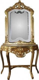 Casa Padrino Barock Spiegelkonsole Gold mit Marmorplatte und mit schönen Barock Verzierungen auf dem Spiegelglas Mod6 - Antik Look