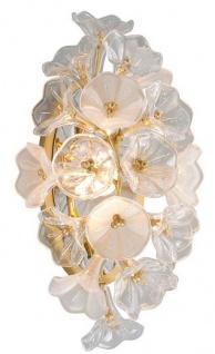 Casa Padrino Designer LED Wandleuchte Gold 22, 9 x 17, 8 x H. 45 cm - Metall Leuchte mit hangefertigtem Glas im Blumendesign - Luxus Kollektion