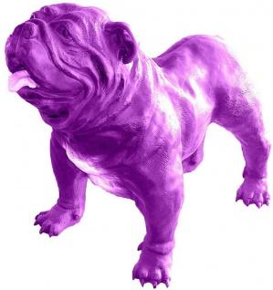 Casa Padrino Designer Dekofigur Hund Bulldogge Lila 85 x 45 x H. 74 cm - Wetterbeständige Deko Skulptur - Wohnzimmer Deko - Garten Deko - Designer Deko Tierfigur