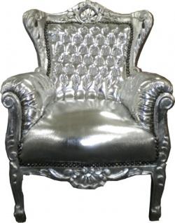 Barock Kinder Sessel Silber/Silber - Tron
