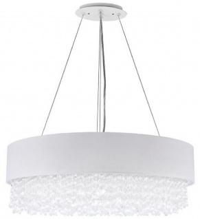Casa Padrino Kristall Hängeleuchte Silber / Weiß Ø 60 x H. 21 cm - Außergewöhnliche runde Leuchte mit Metallrahmen und Stoffbezug