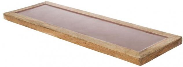 Casa Padrino Luxus Holz Keramik Deko Tablett Naturfaben / Rosa 17 x 6 x H. 2 cm - Deko Accessoires